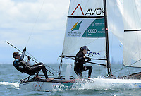 Paul Darmann &amp; Lucy Copeland (AUS)<br /> Racing -Day 1 / Nacra 17<br /> ISAF Sailing World Cup - Melbourne<br /> Sandringham Yacht Club<br /> Monday 8 December 2014<br /> &copy; Sport the library / Jeff Crow