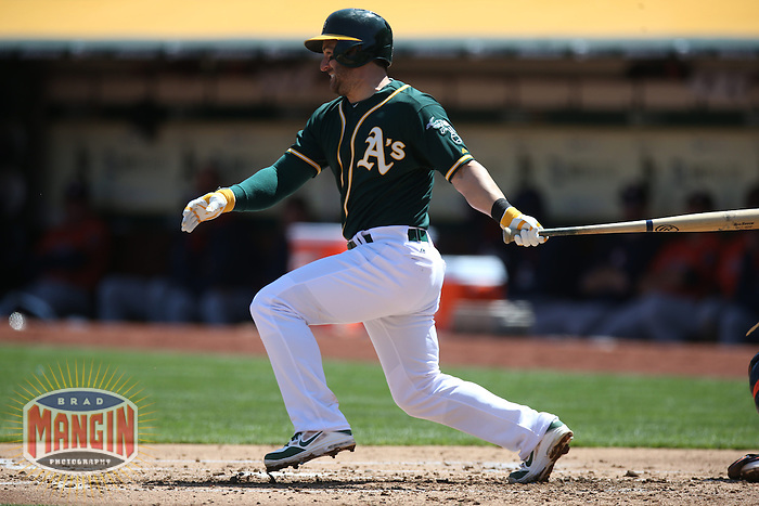 OAKLAND, CA - APRIL 19:  Nick Punto #1 of the Oakland Athletics bats against the Houston Astros during the game at O.co Coliseum on Saturday, April 19, 2014 in Oakland, California. Photo by Brad Mangin
