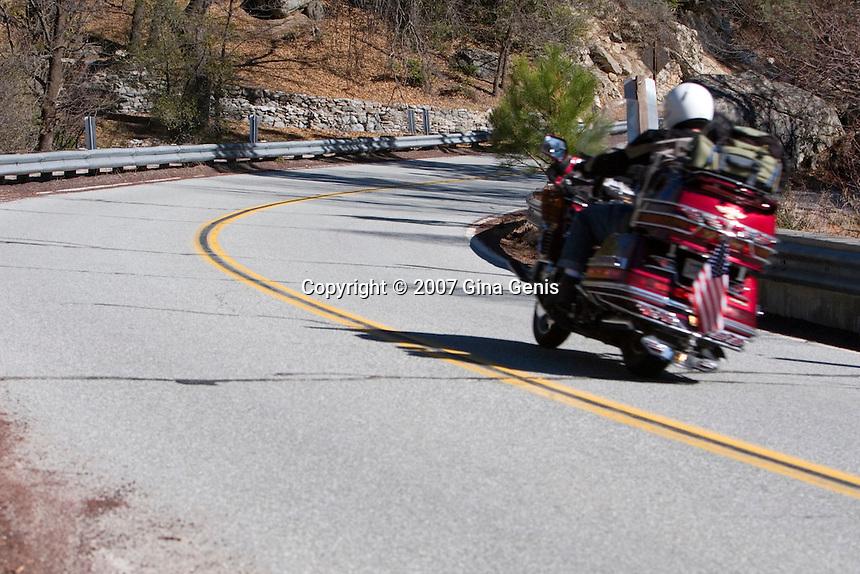 Motorcycle on Highway 243 at Lake Fulmor