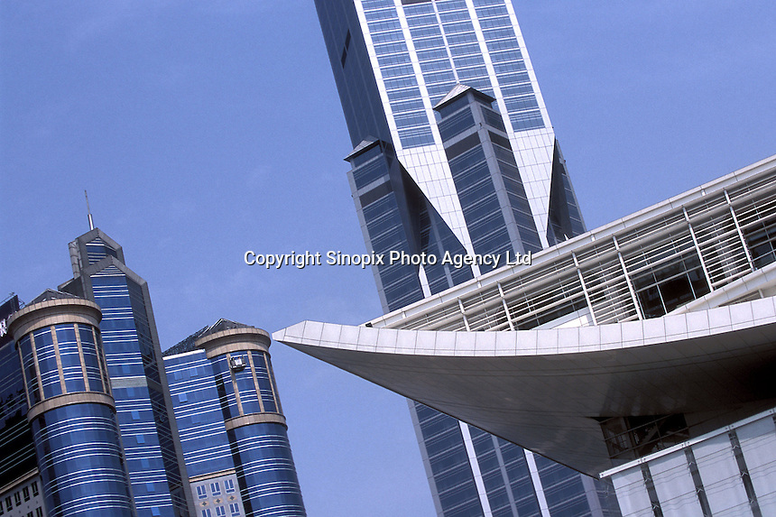 Marriot Hotel and the Shanghai Opera House at Shanghai Grand Theatre forms part of the modern skyline in downtown Shanghai, China. .