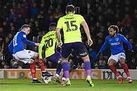 Ronan Curtis of Portsmouth left holds the ball up from Jayden Richardson of Exeter City during Portsmouth vs Exeter City, Leasing.com Trophy Football at Fratton Park on 18th February 2020