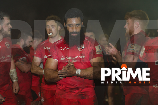 Jersey Reds players after victory in the Greene King IPA Championship match between London Scottish Football Club and Jersey Reds at Richmond Athletic Ground, Richmond, United Kingdom on 16 March 2018. Photo by David Horn.