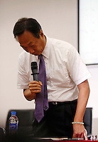 Terry Gou, founder and chairman of Hon Hai Group, bows his head during a news conference at the company's Foxconn plant in Shenzhen, China, on Wednesday, May 26, 2010. Hon Hai is the parts supplier for many hi-tech companies around the world including Apple Inc., Hewlett-Packard Co. and Dell Inc. There have been 12 suicides at the company's 300 thousand employee strong factory complex in Shenzhen so far this year.