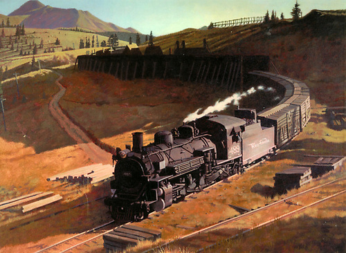 Artwork depicting D&amp;RGW #489 with westbound stock train emerging from Marshall Pass showshed west portal.<br /> D&amp;RGW  Marshall Pass, CO  Taken by Finnell, Jim (Artist) - 10/1953