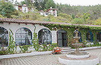Fountain and patio at San Jorge Eco-Lodge, Quito, Ecuador