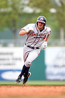 Mississippi Braves third baseman Kyle Kubitza (39) runs the bases during a game against the Montgomery Biscuits on April 22, 2014 at Riverwalk Stadium in Montgomery, Alabama.  Mississippi defeated Montgomery 6-2.  (Mike Janes/Four Seam Images)