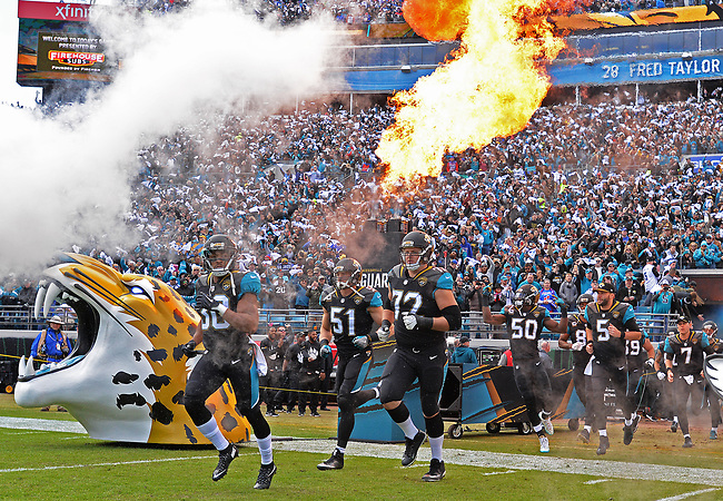 Jacksonville Jaguars players enter the field against the Buffalo Bills in a NFL Wildcard Playoff game Sunday, January 7, 2018 in Jacksonville, Fl.  (Rick Wilson/Jacksonville Jaguars)
