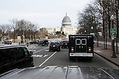 Presidential motorcade drives to the Supreme Court, carrying United States President Barack Obama and First Lady Michelle Obama  who are going to pay their respects to US Supreme Court Justice Anthony Scalia, Washington, DC, February 19, 2016.  Anthony Scalia died February 13, 2016, at age 79, during a hunting trip in West Texas. <br /> Credit: Aude Guerrucci / Pool via CNP