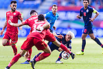 Chanathip Songkrasin of Thailand (R) battles for the ball with Hamad Mahmood Alshamsan of Bahrain (L) during the AFC Asian Cup UAE 2019 Group A match between Bahrain (BHR) and Thailand (THA) at Al Maktoum Stadium on 10 January 2019 in Dubai, United Arab Emirates. Photo by Marcio Rodrigo Machado / Power Sport Images