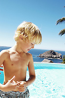 """Finn, Age 6, from NY.  Enjoys swimming in the pool at """" Casa Parasol"""".  Careyes."""
