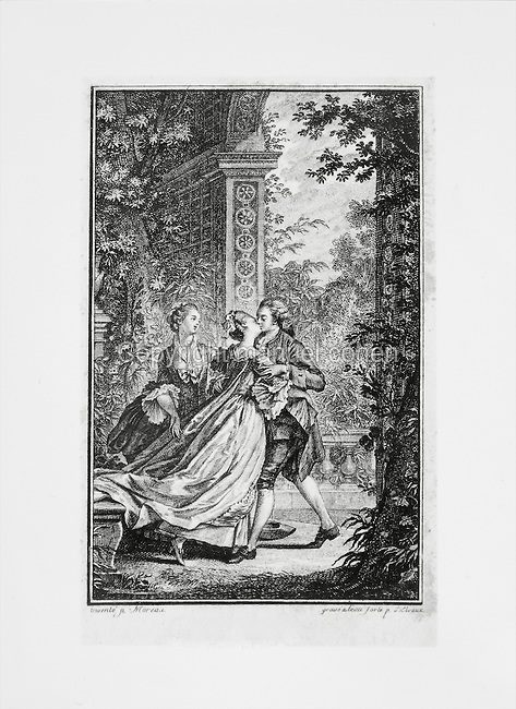 Fete galante scene set in the gardens of the Palace of Versailles, with a couple kissing in an arbour and a female looking on, engraving. Copyright © Collection Particuliere Tropmi / Manuel Cohen