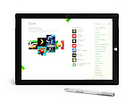 Microsoft Surface Pro 3 tablet computer with Windows Apps store on display isolated on white background with clipping path