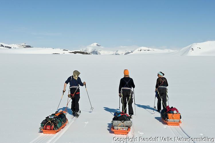 Skiløpere med pulk på Wahlenbergbreen på Svalbard. ---- Skiers with sleds on the glacier Wahlenbergbreen, Svalbard.