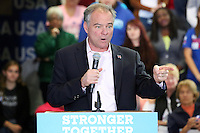 NEWTOWN, PA - OCTOBER 26 :  Democratic vice presidential nominee Senator Tim Kaine pictured campaigning for Hillary Clinton in the Lehigh Valley and Bucks County area and also talking about the importance of electing Democrats up and down the ticket and urge Pennsylvania voters to visit iwillvote.com to ensure that they have all the information they need to vote on Election Day at Bucks County Community College Newtown Campus in Newtown, Pa on October 26, 2016  photo credit  Star Shooter/MediaPunch
