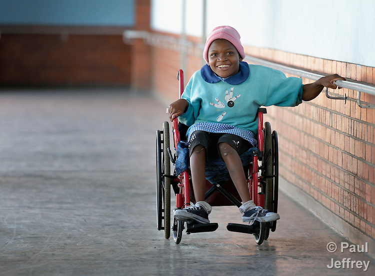 A student at the Jairos Jiri School in Harare, Zimbabwe. She uses a wheelchair provided by the Jairos Jiri Association with support from CBM-US.