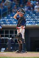 Quad Cities River Bandits catcher Michael Papierski (9) during a game against the West Michigan Whitecaps on July 23, 2018 at Modern Woodmen Park in Davenport, Iowa.  Quad Cities defeated West Michigan 7-4.  (Mike Janes/Four Seam Images)
