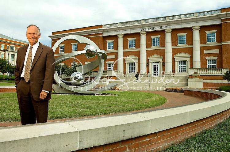 On-location portrait photography of  UNC Charlotte's Chancellor Philip Dubois on the UNC Charlotte campus in Charlotte, North Carolina.<br /> <br /> Charlotte Photographer - PatrickSchneiderPhoto.com