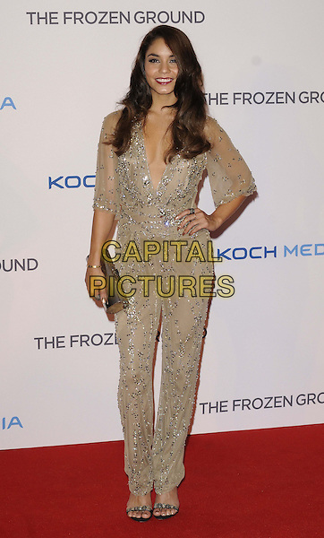 Vanessa Hudgens<br /> 'The Frozen Ground' UK film premiere, Vue West End cinema, Leicester Square, London, England.<br /> 17th July 2013<br /> full length beige silver sheer jumpsuit sequined sequins hand on hip clutch bag low cut neckline <br /> CAP/CAN<br /> &copy;Can Nguyen/Capital Pictures