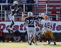 Leonte Carroo #1 of Don Bosco intercepts a St Ignatius pass during the game at Harding Stadium in Steubenville, OH on September 25, 2010. ..Jared Wickerham.