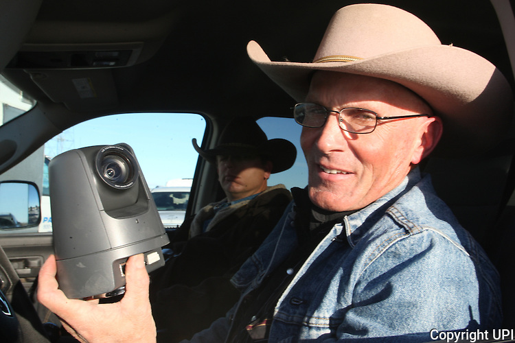 Activists LaVoy Finicum holds a surveillance camera, placed by the FBI was found near the reserve near the Malheur National Wildlife Reserve on January 15, 2016 in Burns, Oregon. Two more cameras were removed from a nearby power station.   Photo by Jim Bryant/UPI