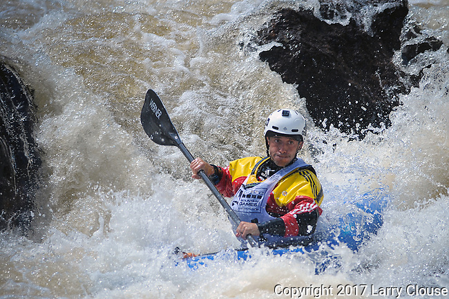 June 8, 2017 - Vail, Colorado, U.S. - France's, Mathieu Dumoulin, looks downstream along Homestake Creek's upper section in the Steep Creek competition during the GoPro Mountain Games, Vail, Colorado.  Adventure athletes from around the world meet in Vail, Colorado, June 8-11, for America's largest celebration of mountain sports, music, and lifestyle.