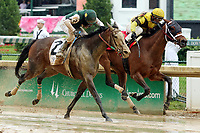 LOUISVILLE, KY - MAY 05: Benner Island #1, ridden by Javier Castellano, wins the Eight Belles Stakes ahead of Union Strike #2, ridden by Brice Blanc, on Kentucky Oaks Day at Churchill Downs on May 5, 2017 in Louisville, Kentucky. (Photo by Candice Chavez/Eclipse Sportswire/Getty Images)