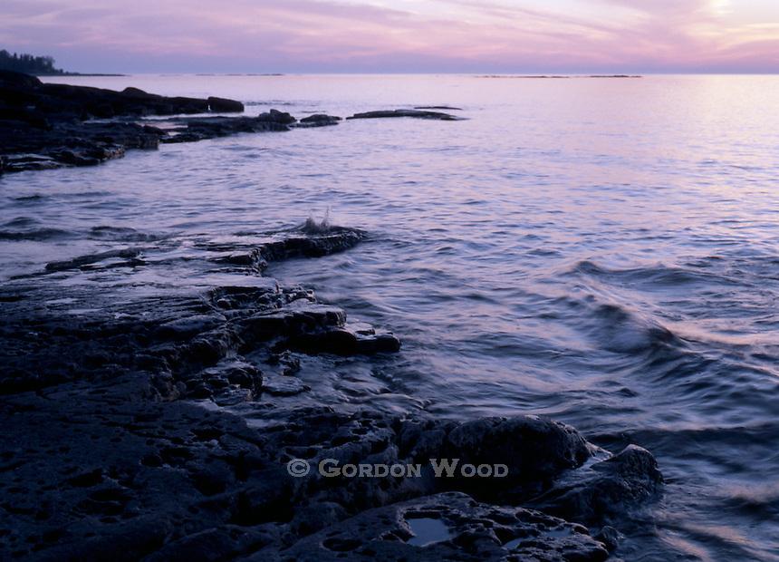 Bruce Peninsula and Lake Huron near Tobermory after Sunset