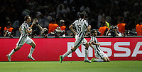 Calcio, finale di Champions League Juventus vs Barcellona all'Olympiastadion di Berlino, 6 giugno 2015.<br /> Juventus' Alvaro Morata, right, celebrates with teammates Stephan Lichsteiner, left, and Andrea Barzagli, after scoring the equalizer goal during the Champions League football final between Juventus Turin and FC Barcelona, at Berlin's Olympiastadion, 6 June 2015. Barcelona won 3-1.<br /> UPDATE IMAGES PRESS/Isabella Bonotto