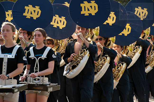 October 7, 2011; The Marching Band heads toward its practice location in the parking lot south of Notre Dame Stadium. Photo by Barbara Johnston/University of Notre Dame