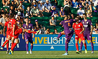 11th January 2020; HBF Park, Perth, Western Australia, Australia; A League Football, Perth Glory versus Adelaide United; Gregory Wuthrich of the Perth Glory shoots past the Adelaide defense from outside the box - Editorial Use