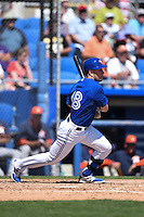 Toronto Blue Jays infielder Steve Tolleson (18) during a Spring Training game against the Houston Astros on March 9, 2015 at Florida Auto Exchange Stadium in Dunedin, Florida.  Houston defeated Toronto 1-0.  (Mike Janes/Four Seam Images)