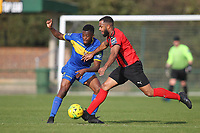 Khadean Campbell of Romford and Syrus Gordon of Coggeshall during Romford vs Coggeshall Town, Bostik League Division 1 North Football at Rookery Hill on 13th October 2018
