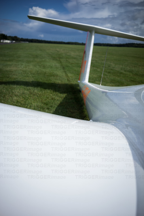 White glider on the ground in Lasham