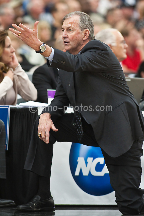Mar 28, 2009; Glendale, AZ, USA; Connecticut Huskies head coach Jim Calhoun in the second half of a game against the Missouri Tigers in the finals of the west region of the 2009 NCAA basketball tournament at University of Phoenix Stadium.  The Huskies defeated the Tigers 82-75 to advance to the Final Four.