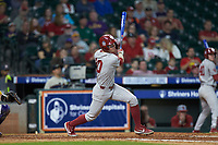 Tanner Tredaway (10) of the Oklahoma Sooners follows through on his swing against the LSU Tigers in game seven of the 2020 Shriners Hospitals for Children College Classic at Minute Maid Park on March 1, 2020 in Houston, Texas. The Sooners defeated the Tigers 1-0. (Brian Westerholt/Four Seam Images)