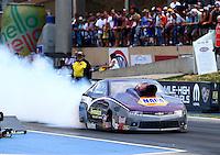 Jul. 18, 2014; Morrison, CO, USA; NHRA pro stock driver Vincent Nobile during qualifying for the Mile High Nationals at Bandimere Speedway. Mandatory Credit: Mark J. Rebilas-