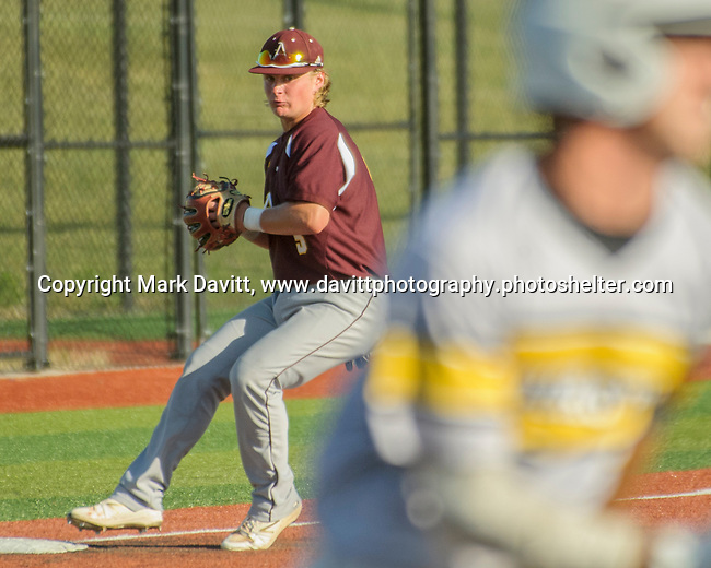 Southeast Polk and Ankeny met for a double header at SEP June 21. SEP prevailed twice, 2-0 and 8-1. AHS's Jayden Maifeld touches third for a force out at third before turning to throw to first.