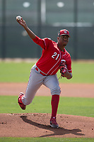 Cincinnati Reds starting pitcher Hunter Greene (21) delivers a pitch to the plate during a Minor League Spring Training game against the Los Angeles Angels at the Cincinnati Reds Training Complex on March 15, 2018 in Goodyear, Arizona. (Zachary Lucy/Four Seam Images)