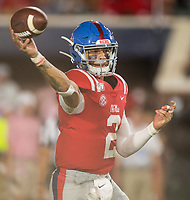 NWA Democrat-Gazette/BEN GOFF @NWABENGOFF<br /> Matt Corral, Ole Miss quarterback, throws the ball in the second quarter vs Arkansas Saturday, Sept. 7, 2019, at Vaught-Hemingway Stadium in Oxford, Miss.