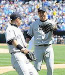 (R-L) Hiroki Kuroda, Ichiro Suzuki (Yankees),.MAY 12, 2013 - MLB :.Hiroki Kuroda and Ichiro Suzuki of the New York Yankees during the baseball game against the Kansas City Royals at Kauffman Stadium in Kansas City, Missouri, United States. (Photo by AFLO)