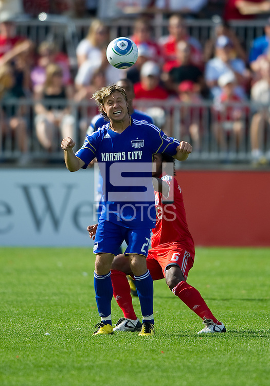 05 June 2010: Kansas City Wizards defender Michael Harrington #2 in action during a game between the Kansas City Wizards and Toronto FC at BMO Field in Toronto..The game ended in a 0-0 draw.