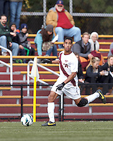 Virginia Tech midfielder Deven Mason (16) looks to pass.Boston College (maroon) defeated Virginia Tech (Virginia Polytechnic Institute and State University) (white), 3-1, at Newton Campus Field, on November 3, 2013.
