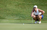 SIOUX FALLS, SD - SEPTEMBER 3: Caroline Inglis lines up her birdie putt on the 3rd hole during the final round of the 2017 Great Life Challenge Symetra Tour stop at Willow Run in Sioux Falls.  (Photo by Dave Eggen/Inertia)