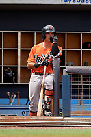 Baltimore Orioles Andrew Fregia (79) in the dugout during a Florida Instructional League game against the Tampa Bay Rays on October 1, 2018 at the Charlotte Sports Park in Port Charlotte, Florida.  (Mike Janes/Four Seam Images)