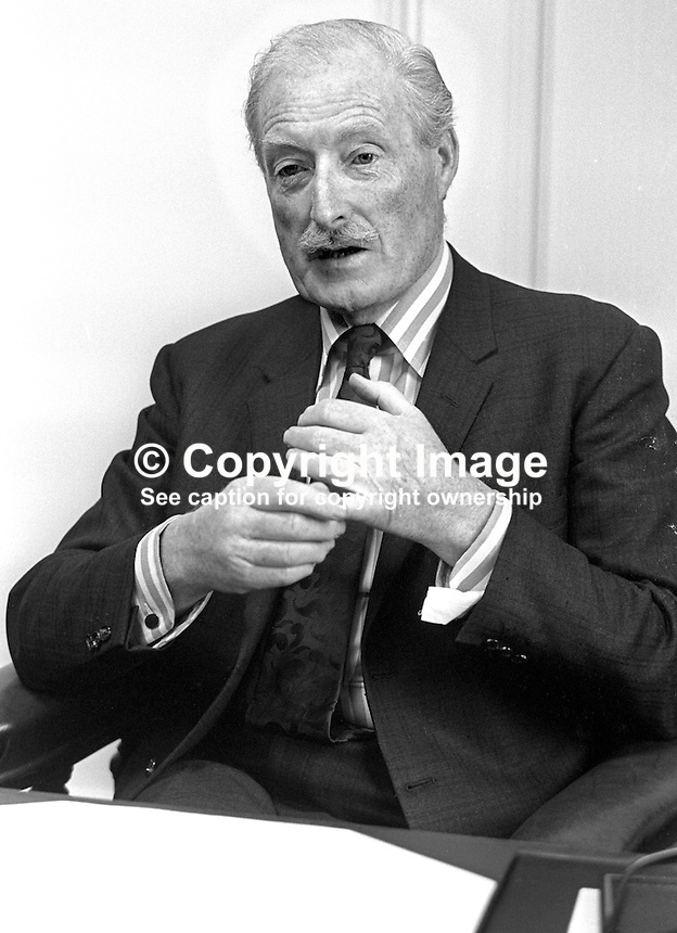 Sir Brian Morton, chairman, Harland &amp; Wolff Ltd, shipyard, Belfast, N Ireland, at his desk. 197512190777<br />