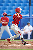 GCL Phillies catcher Nerluis Martinez (11) at bat during the first game of a doubleheader against the GCL Blue Jays on August 15, 2016 at Florida Auto Exchange Stadium in Dunedin, Florida.  GCL Phillies defeated the GCL Blue Jays 7-5 in a completion of a game started on July 30th.  (Mike Janes/Four Seam Images)