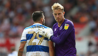 Queens Park Rangers' goalkeeper Joe Lumley and Yoann Barbet <br /> <br /> Photographer Stephen White/CameraSport<br /> <br /> The EFL Sky Bet Championship - Stoke City v Queens Park Rangers - Saturday 3rd August 2019 - bet365 Stadium - Stoke-on-Trent<br /> <br /> World Copyright © 2019 CameraSport. All rights reserved. 43 Linden Ave. Countesthorpe. Leicester. England. LE8 5PG - Tel: +44 (0) 116 277 4147 - admin@camerasport.com - www.camerasport.com