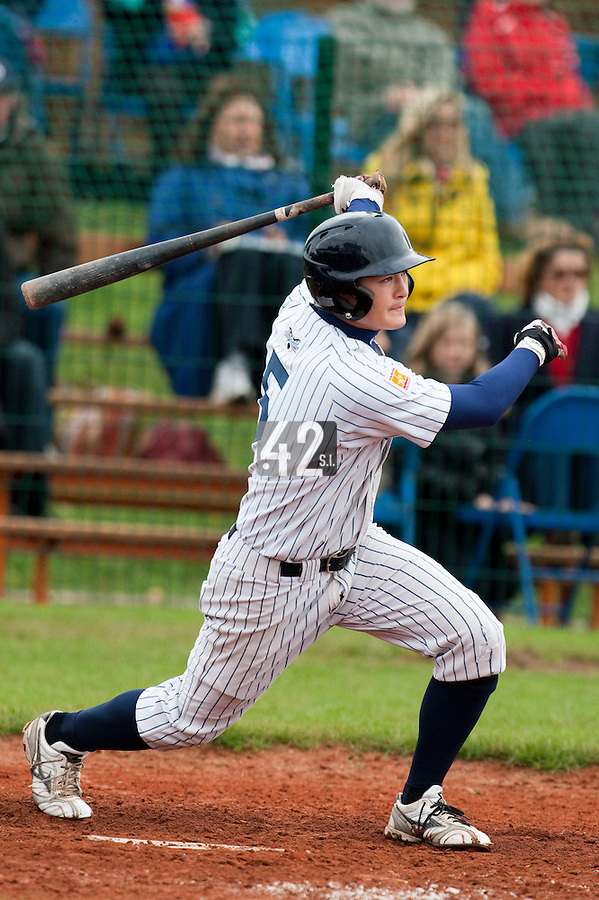 10 october 2009: Kenji Hagiwara of Rouen is seen at bat during game 4 of the 2009 French Elite Finals won 7-2 by Huskies of Rouen over Lions of Savigny, at Stade Jean Moulin stadium in Savigny sur Orge, near Paris, France. Rouen wins the 2009 France championship, his sixth title.