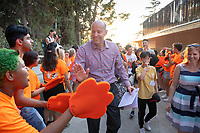 Jonathan Veitch, President of Occidental College<br /> The O-Team cheers for parents and students at the Welcome to Oxy event at the Remsen Bird Hillside Theater (Greek Bowl) as part of the official Orientation welcome. Incoming first-years and their families are welcomed by enthusiastic O-Team members and other members of the community during Occidental College's Fall move-in and orientation for the class of 2022, Aug. 23, 2018.<br /> (Photo by Marc Campos, Occidental College Photographer)
