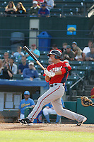 Potomac Nationals infielder John Wooten (27) at bat during a game against the Myrtle Beach Pelicans at Ticketreturn.com Field at Pelicans Ballpark on May 22, 2015 in Myrtle Beach, South Carolina.  Myrtle Beach defeated Potomac 8-4. (Robert Gurganus/Four Seam Images)